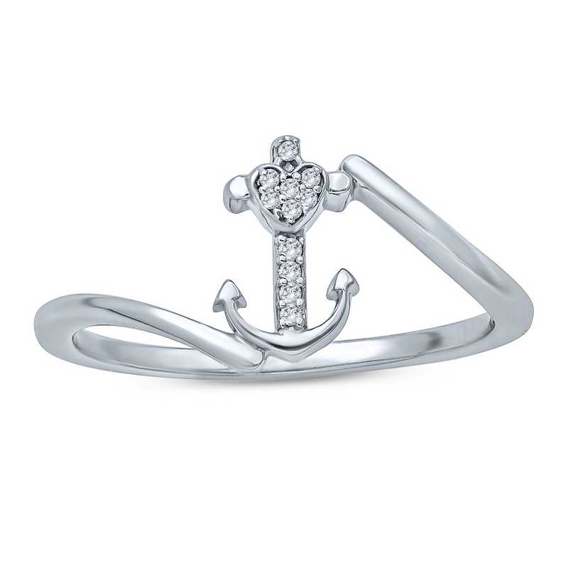 Diamond Accent Round Anchor Fashion Ring In Sterling Silver.