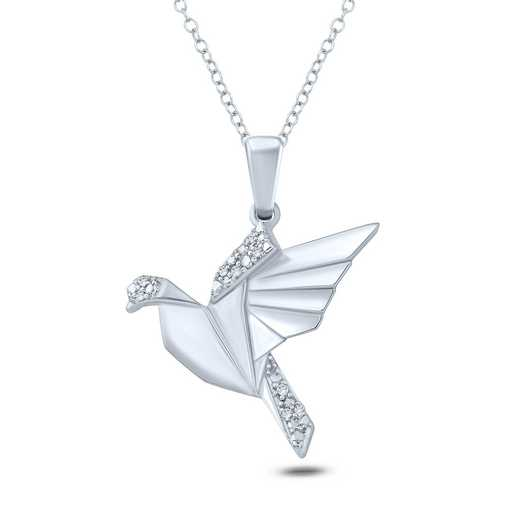 PFA30691: 925 DIA ACCENT ORAGAMI FLYING BIRD PENDANT NECK