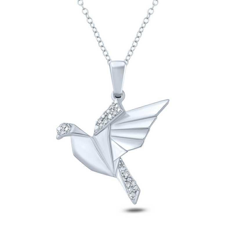 PFA30691: 925 DIA ACCENT ORAGAMI FLYING BIRD PENDANT NECK