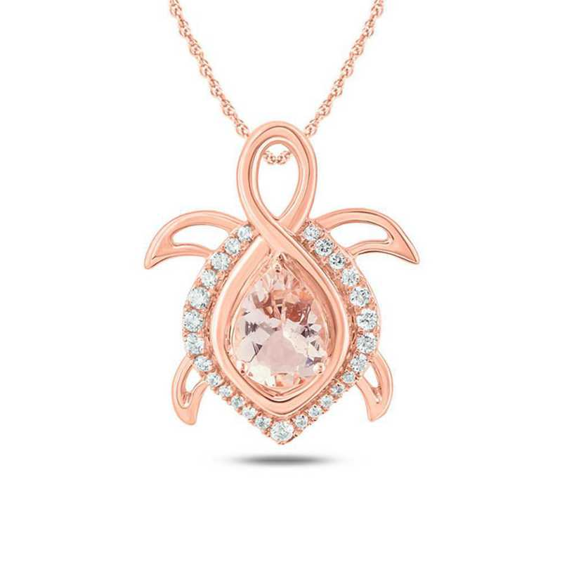 CP95203M8610KT-P: 10K RSGLD Turtle Pendant W/ Morganite / 1/5 CT. T.W. DMNDS