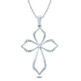 PCA44086: 10KWG DIA ACCENT OUTLINE CROSS PENDANT NECKLACE