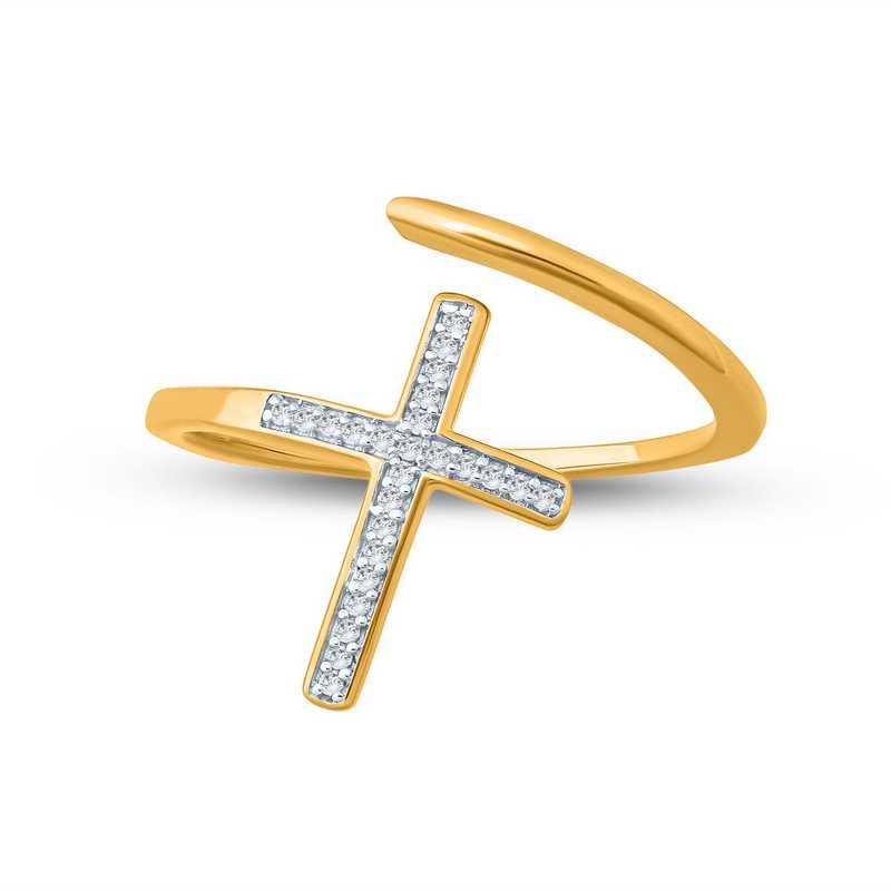 1/10 CT. Round Diamond Cross Fashion Ring In 10kt Yellow Gold.