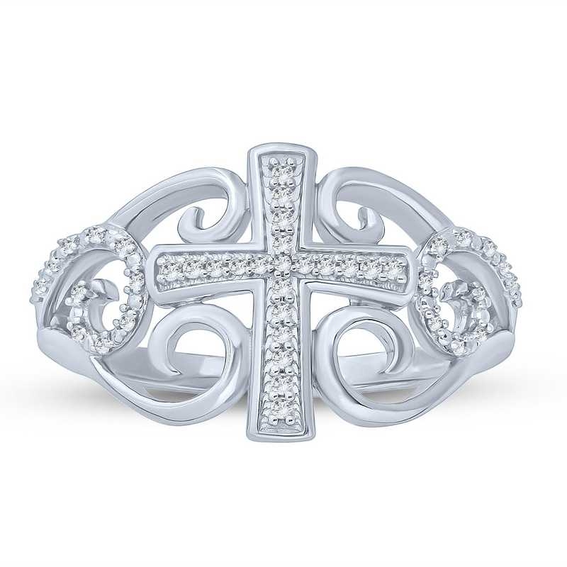 1/10 CT. T.W. Diamond Vintage Swirl Cross Ring in Sterling Silver