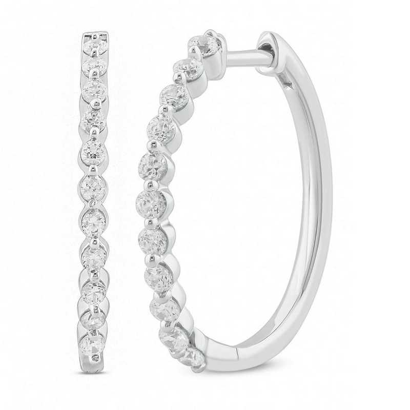 EHH56326925S-W: SS Hoop Earrings W/ 1/2 CT. T.W. DMNDS