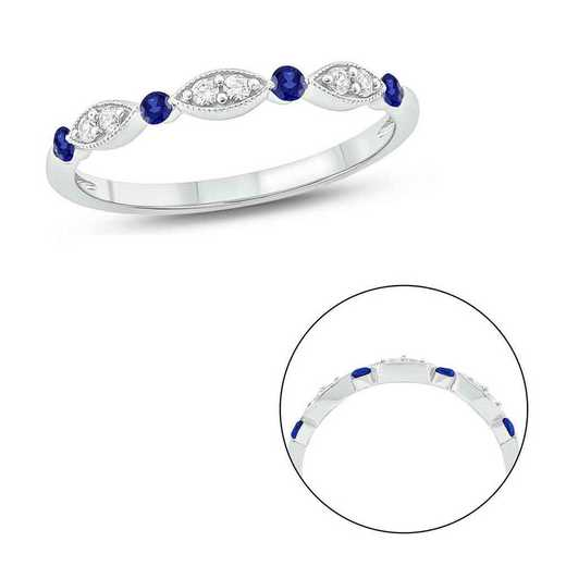 1/5 CT.T.W.  Diamond Band Ring with Created Blue Sapphires In Sterling Silver