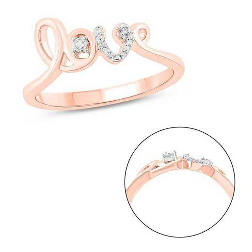 Diamond Accent Love Ring In Rose Gold Plated Sterling Silver