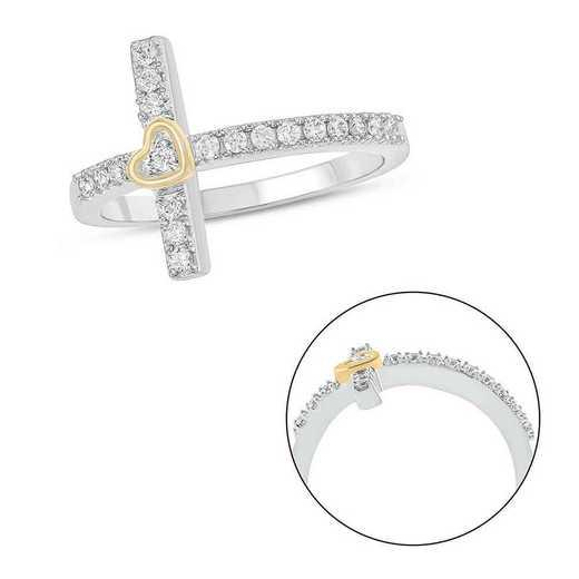1/4 CT.T.W. Diamond Cross Ring 10K White Gold And 10K Yellow Gold
