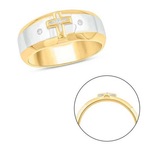 Diamond Accent Men's Cross Religious Ring In Gold Plated Sterling Silver