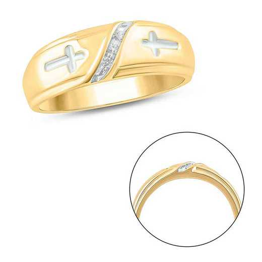 Diamond Accent Men's Cross Ring In Gold Plated Sterling Silver