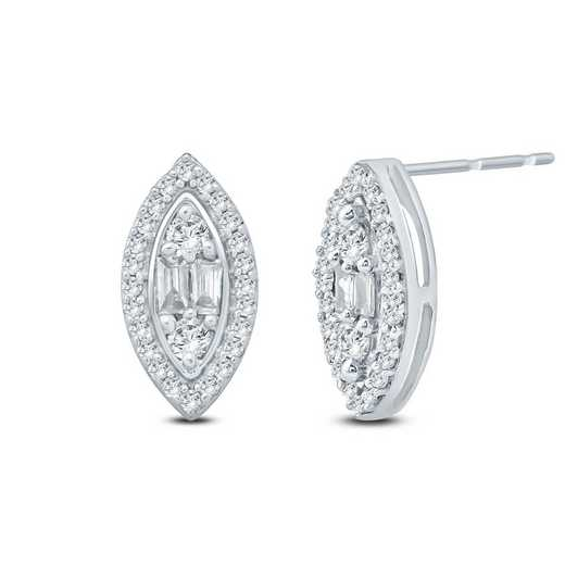 EFB50807: 10KWG DIA ACCNT ROUND/BAG MARQUISE SHP EARRINGS