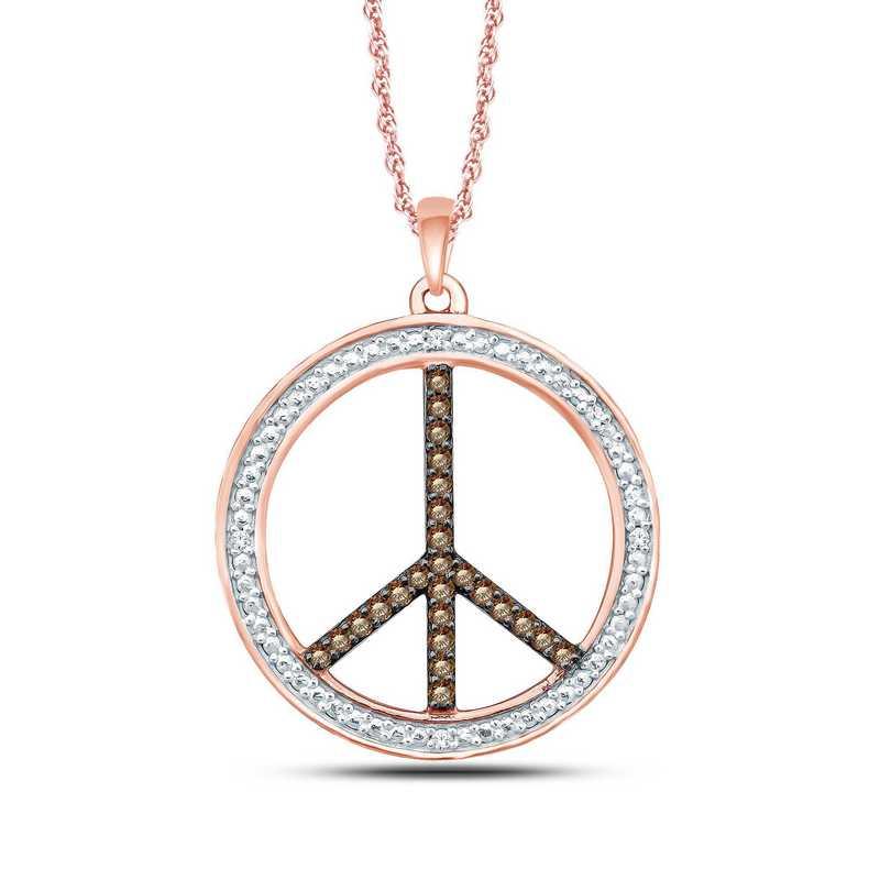 PFB30673C: 10KRG WH/CHMP 1/10CTTW PEACE PENDANT NECKLACE