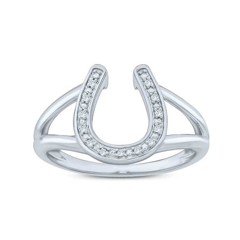 Diamond Accent Lucky Horseshoe Ring in Sterling Silver