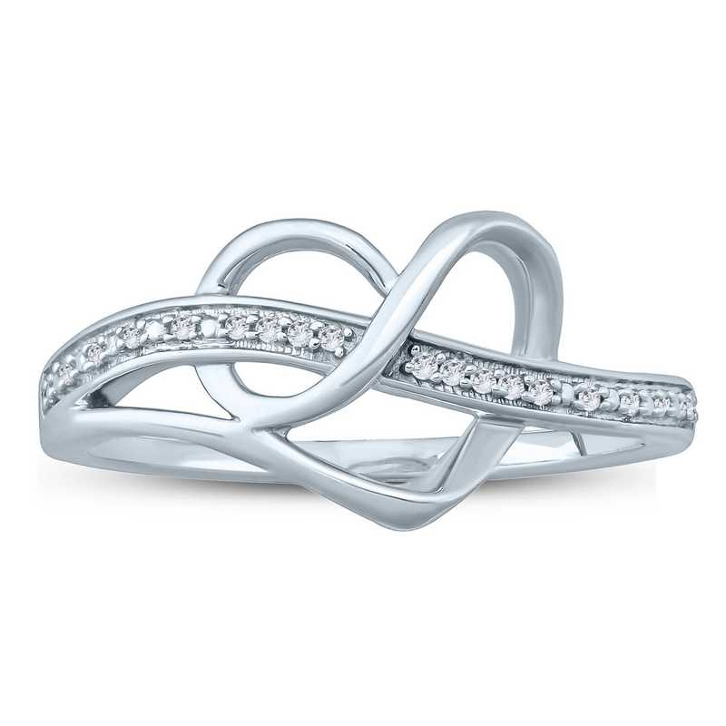 Diamond Accent Infinity Pretzel Heart Ring in Sterling Silver