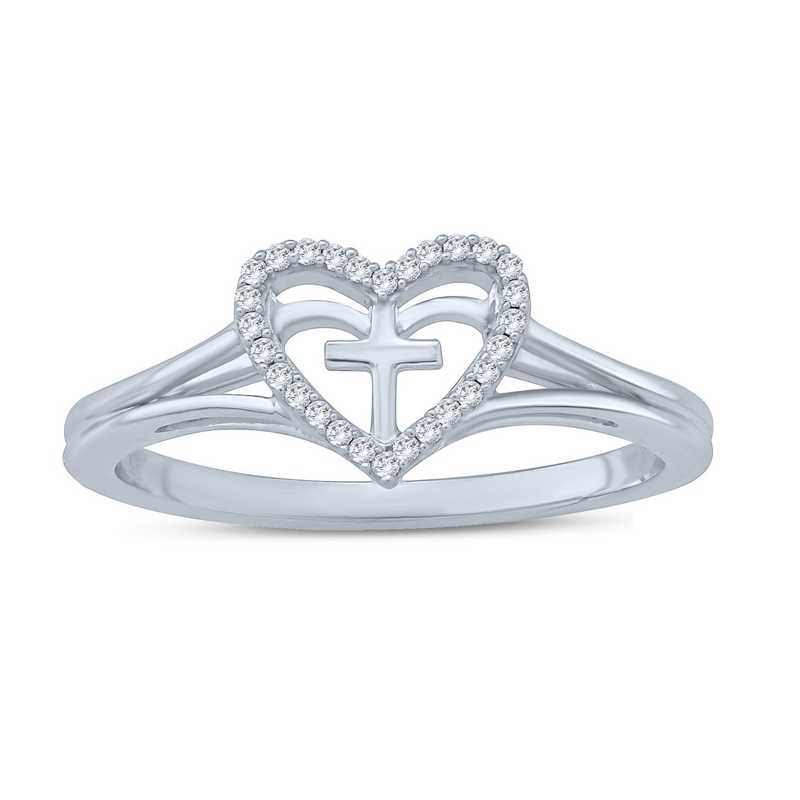 Diamond Accent Cross in Heart Christian Ring in Sterling Silver