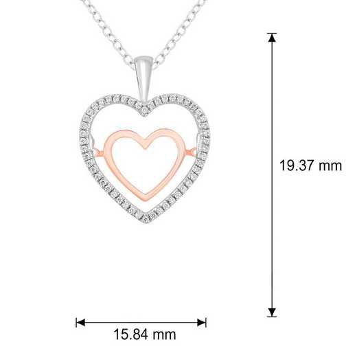 PHC38414925S-WP: SS Double Heart Pendant W/ 1/6 CT. T.W. DMNDS
