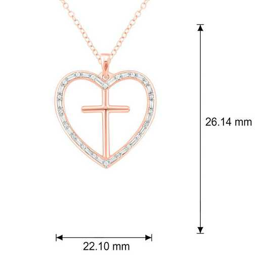 PHE38390925S-WP: SS Cross / Heart Pendant W/ 1/4 CT. T.W. DMNDS