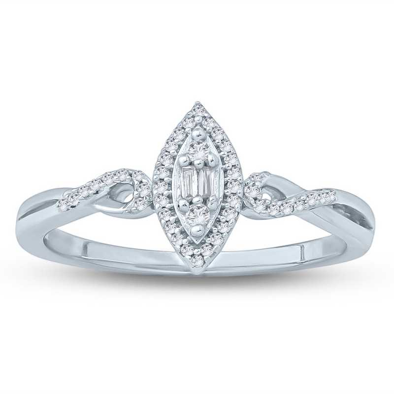1/10 CT. T.W. Diamond Cluster Romantic Promise Ring in 10K White Gold