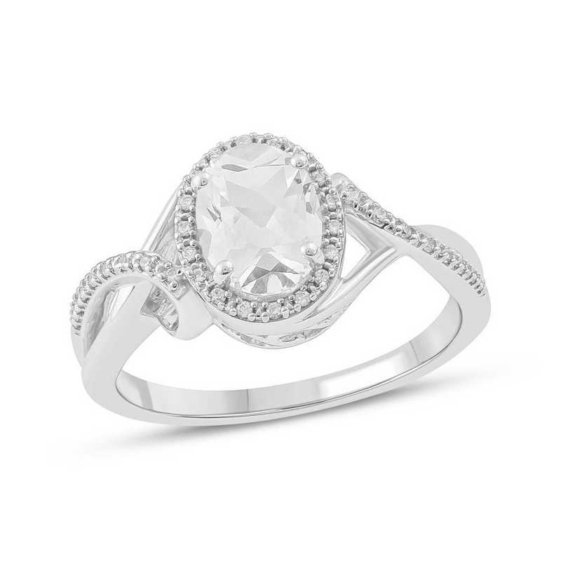Created White Sapphire and 1/10 CT. T.W. Diamond Ring in 10K White Gold