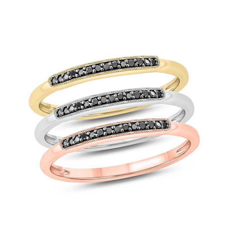 1/6 CT. T.W. Lab-Created Black Diamond Stacked Ring in Gold Plated Sterling Silver