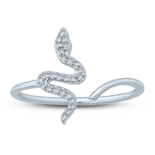 1/10 CT. T.W. Diamond Snake Ring in Sterling Silver