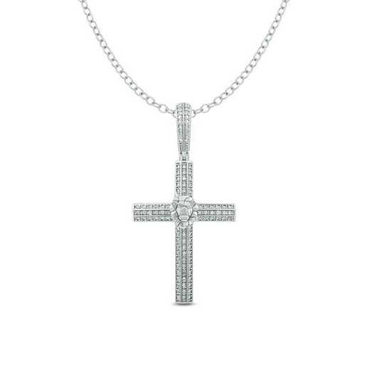 PCF44138925S-W: 1/3 CTTW  CROSS PENDANT STERLING SILVER