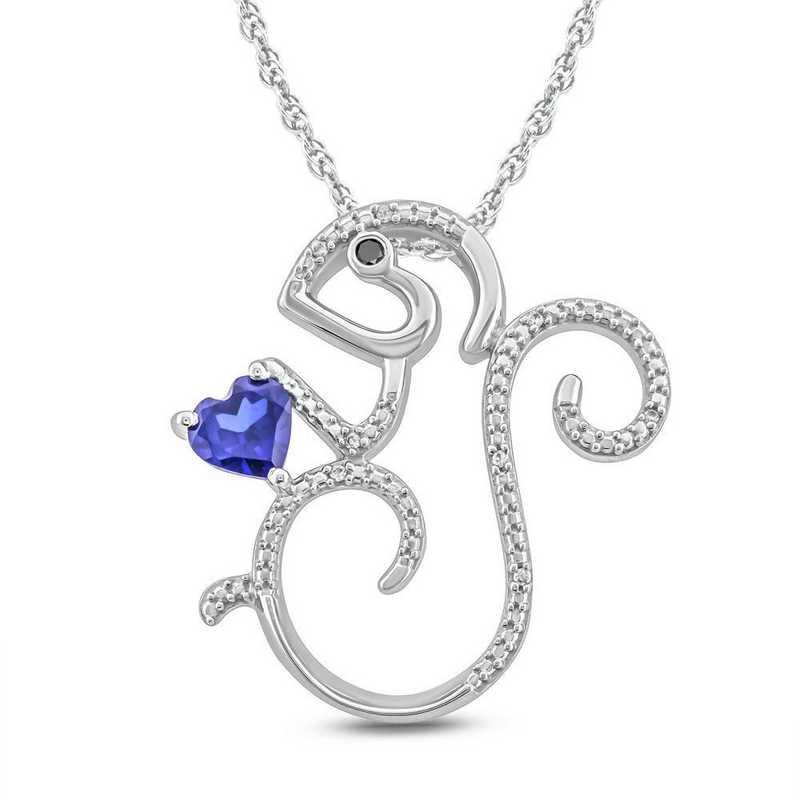 CP95207BS510KT-W: 10K WGLD Petite Pendant W/ DMND Accnt / Crtd Blue Sapphires