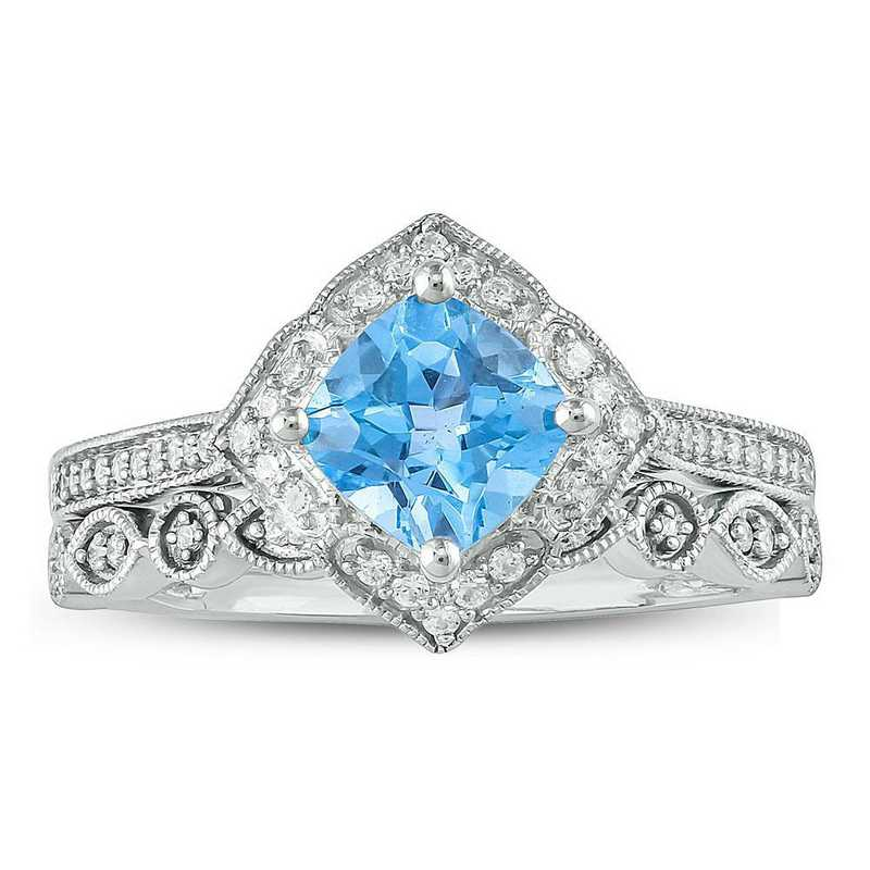 Blue Topaz and 1/4 CT. T.W. Diamond Ring in Sterling Silver