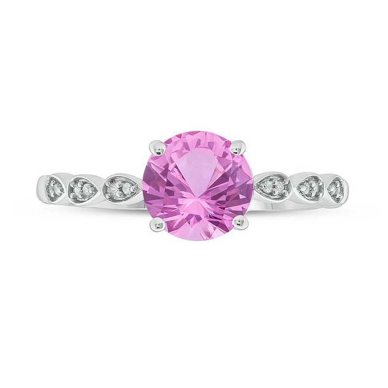 Diamond Accent and Created Pink Sapphire Ring in 10K White Gold