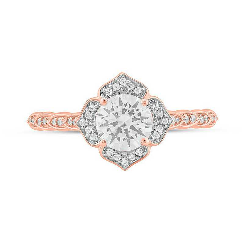 Created White Sapphire and 1/8 CT. T.W. Diamond Ring in 10K Rose Gold