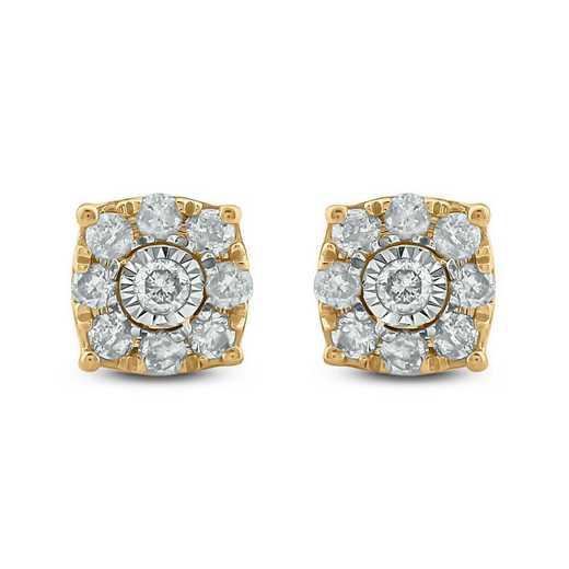 EFE5130110KT-Y: 10K YGLD Earrings W/ 1/4 CT. T.W. DMNDS