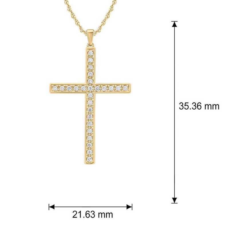 PCE4412410KT-Y: 10K YGLD Cross Pendant W/ 1/4 CT. T.W. DMNDS