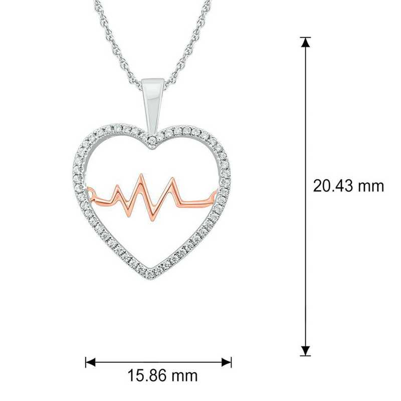 PHC38417925S-WP: SS Heart Pendant W/ 1/6 CT. T.W. DMNDS