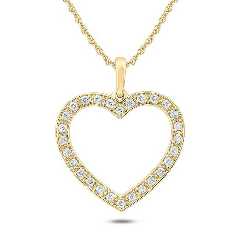 PHE3841310KT-Y: 10K YGLD Double Heart Pendant W/ 1/4 CT. T.W. DMNDS