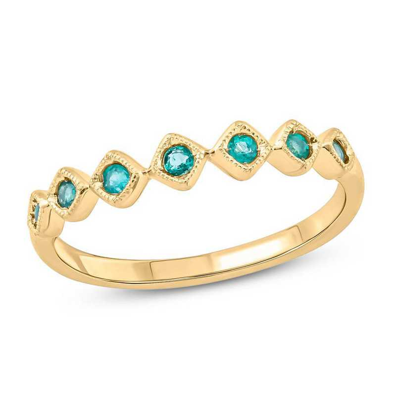 10K Yellow Gold Lab-Created Emerald Ring