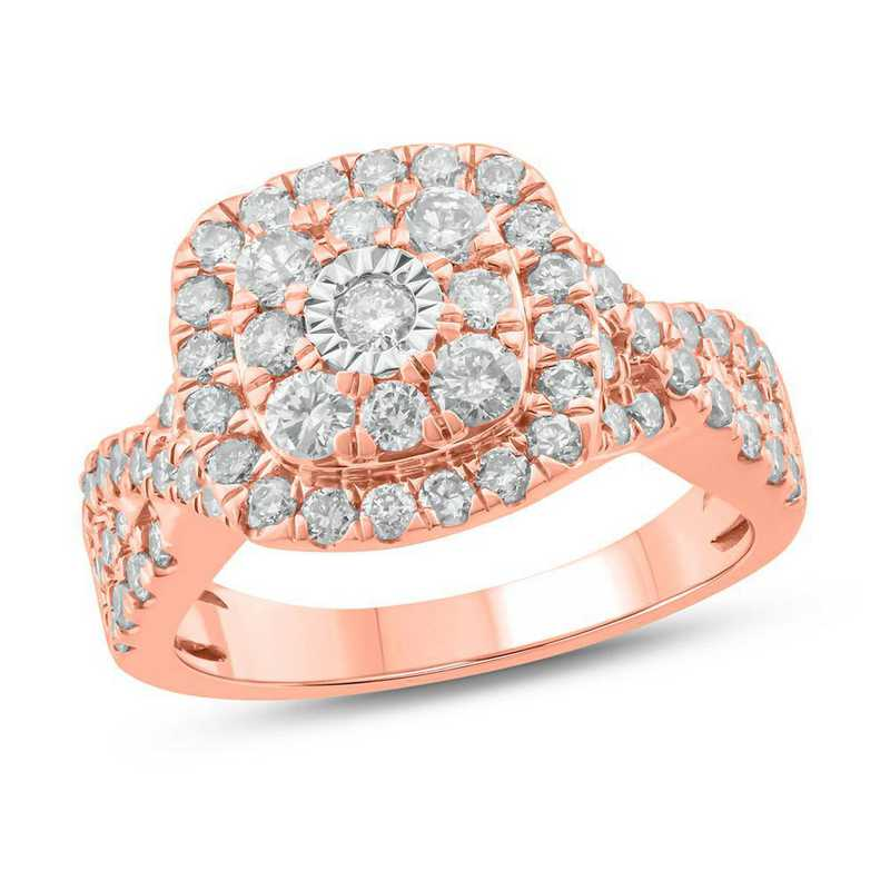 1.5 CT. T.W. Diamond Cluster Ring in 10K Rose Gold