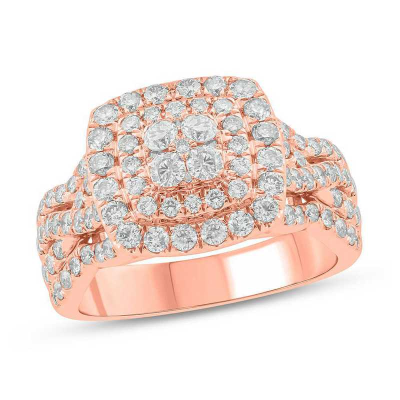2 CT. T.W. Diamond Cluster Ring in 10K Rose Gold