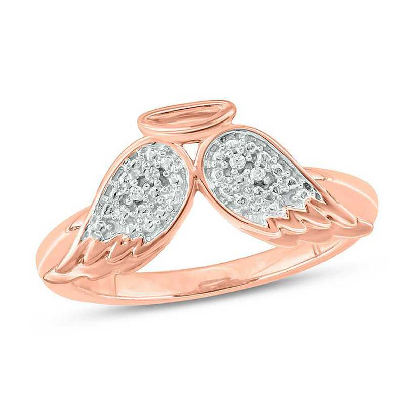10K Rose Gold Ring with Diamond Accents