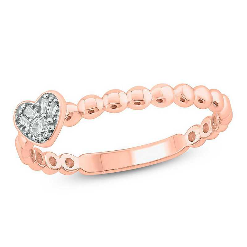 Diamond Accent Heart Ring in 10K Pink Gold