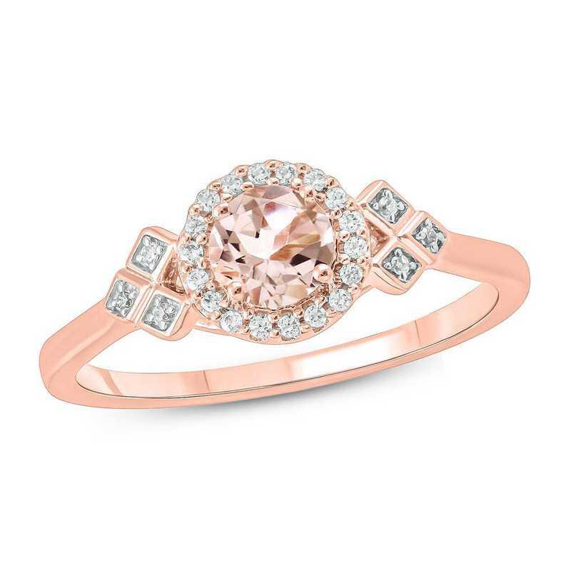 Morganite and 1/10 CT. T.W. Diamond Ring in 10K Rose Gold