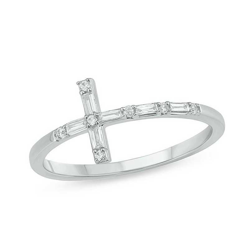 1/6 CT. T.W. Diamond Cross Ring in 10K White Gold