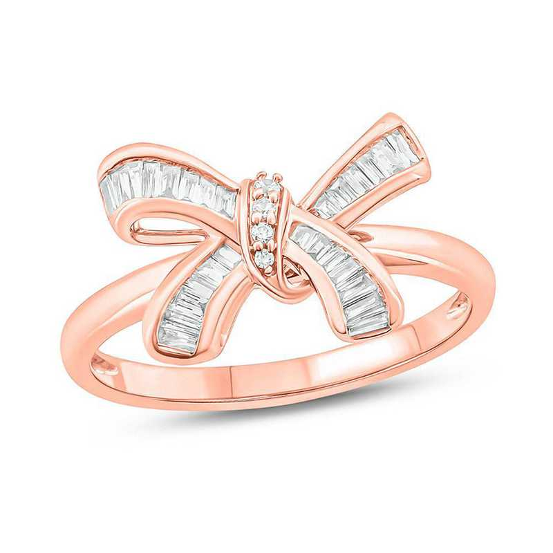 1/5 CT. T.W. Diamond Bow Ring in Sterling Silver with 14K Rose Gold Plating