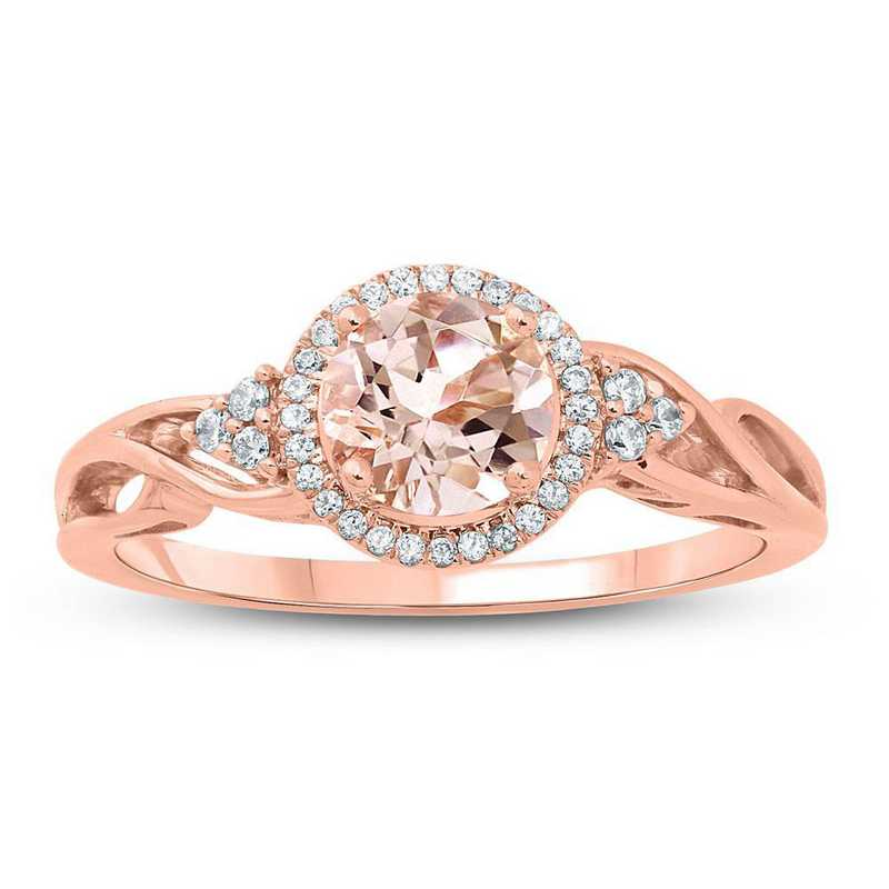Morganite and 1/10 CT. T.W. Diamond Ring in 10K Rose Gold