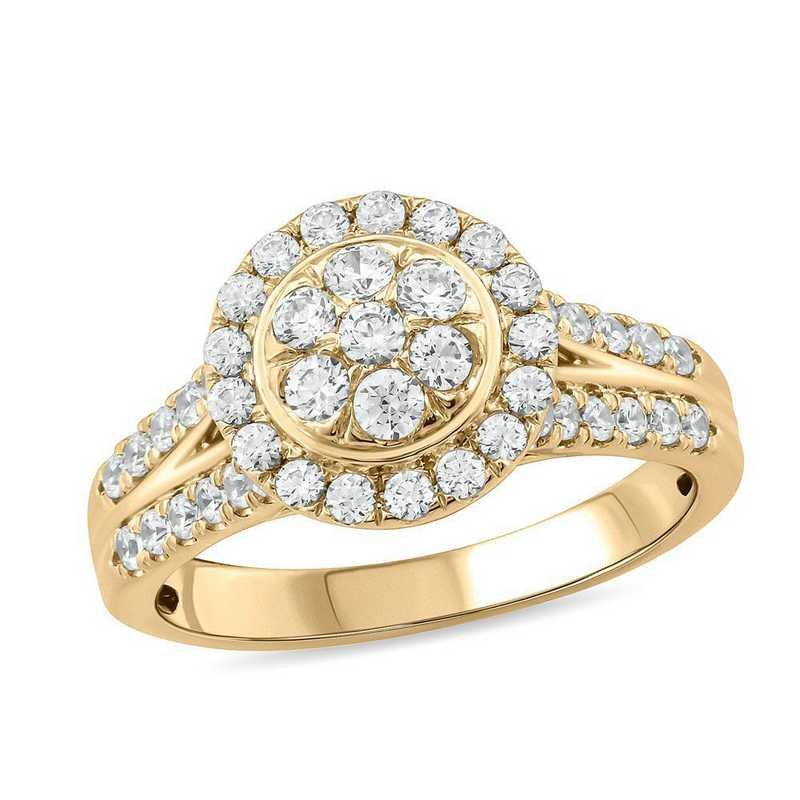 1 CT. T.W. Diamond Cluster Ring in 10K Yellow Gold