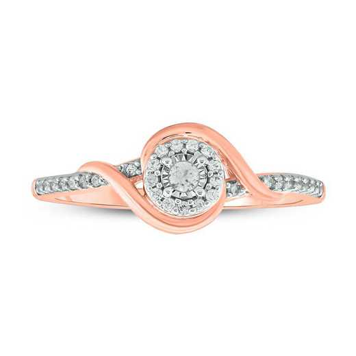 1/6 CT. T.W. Diamond Ring in 10K Rose Gold