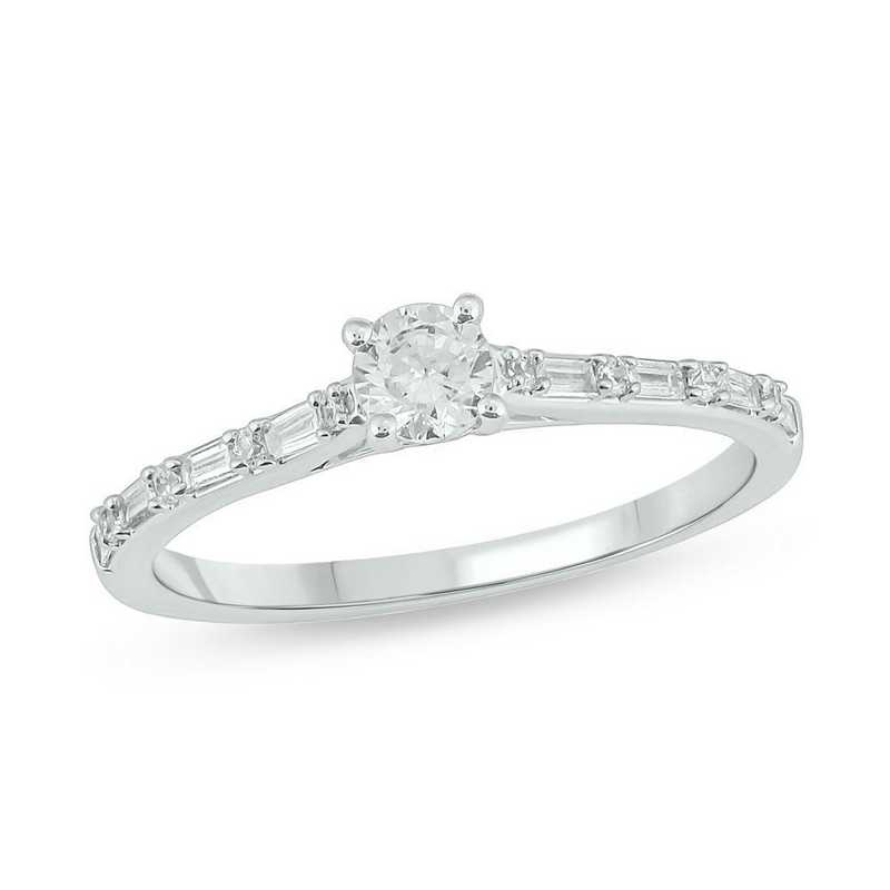 1/3 CT. T.W. Round and Bauguette Diamond Ring in 10K White Gold