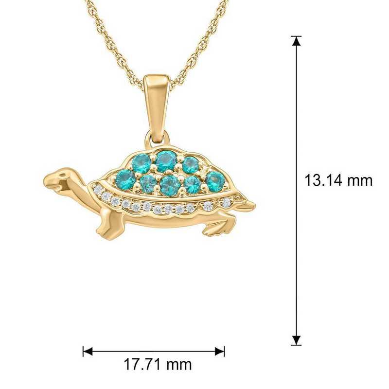 CP95250EM10KT-Y: 10K YGLD Turtle Pendant W/ DMND Accnt / Crtd Emeralds