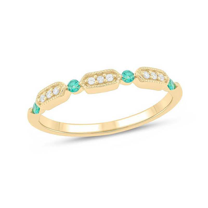 Diamond Accent Ring in 10K Yellow Gold with Created Emeralds