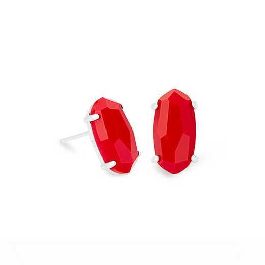 4217703382: BETTY EARRING RHODIUM- RED