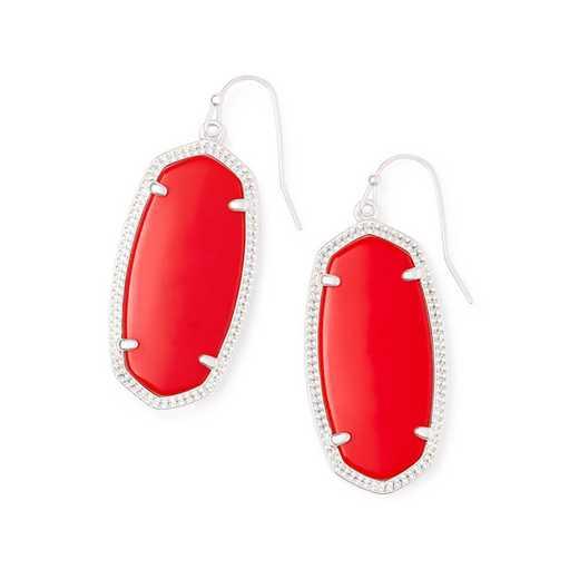4217703387: ELLE EARRING RHODIUM - RED