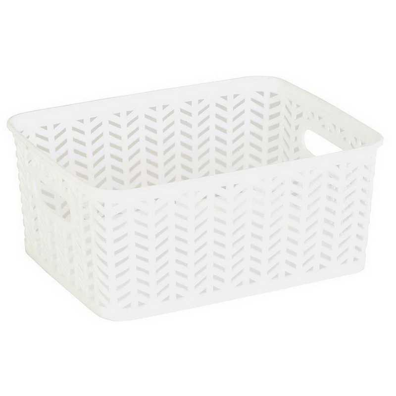 25173-WHITE: KEN  Small Herringbone Storage Bin in White